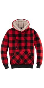 Womens Sherpa Lined Pullover Hoodie Winter Warm Plaid Flannel Hooded Sweatshirt