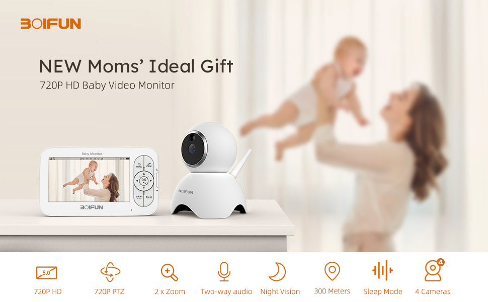 BOIFUN 5 inch Video Baby Monitor with 720P Camera Remote Pan//Tilt//Zoom 300M Range Anti-Hack Encryption HD Baby Monitor Two-Way Audio Temp Monitor Baby//Elder//Pet Crisp Night Vision Image