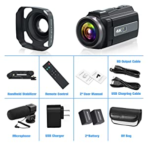 4K Camcorder Vlogging Camera for YouTube Ultra HD 4K 48MP Video Camera with Microphone