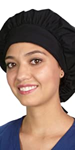 Black Banded Bouffant Style Scrub Cap