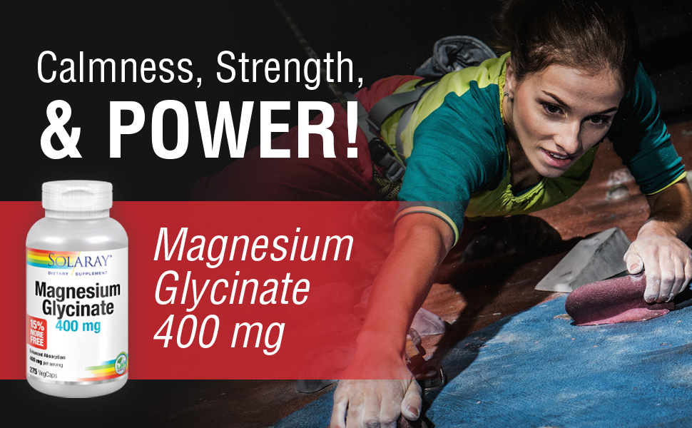 Solaray Magnesium Glycinate 400 mg Healthy Relaxation, Bone amp; Cardiovascular Support