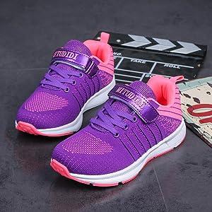 Baskets Enfant Fille Chaussure Sneaker Sport Course Violet Running Pourpre Velcro Été Automne