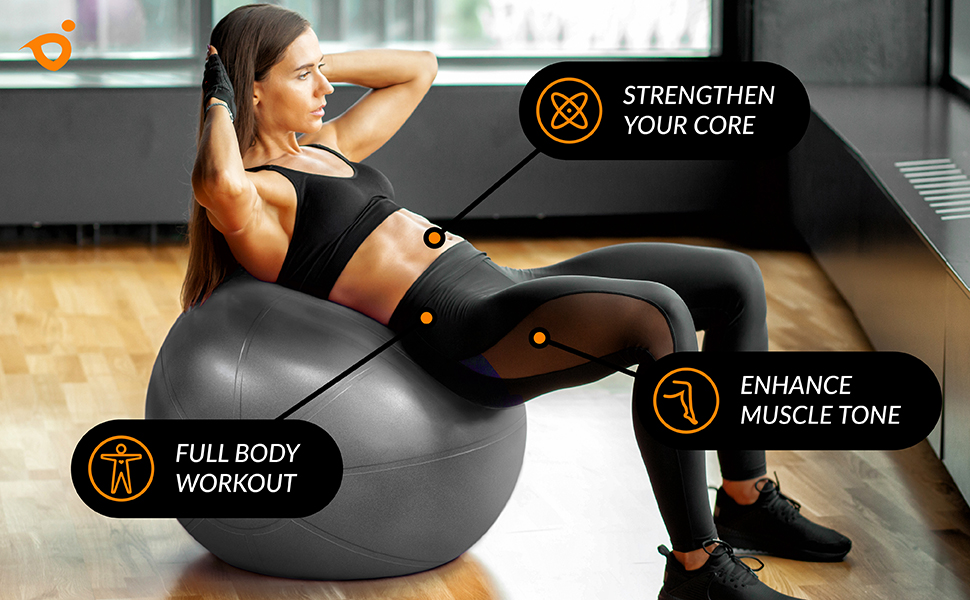 exercise ball yoga ball full body upper body lower body workout ball HIIT crossfit tone core