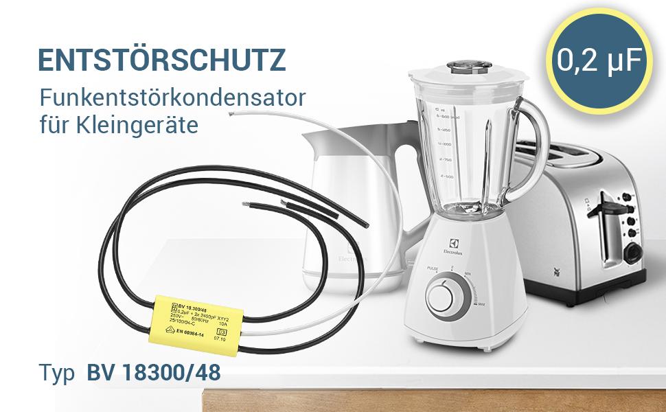 Condensateur antiparasite pour petits appareils. Type BV 18300/48.