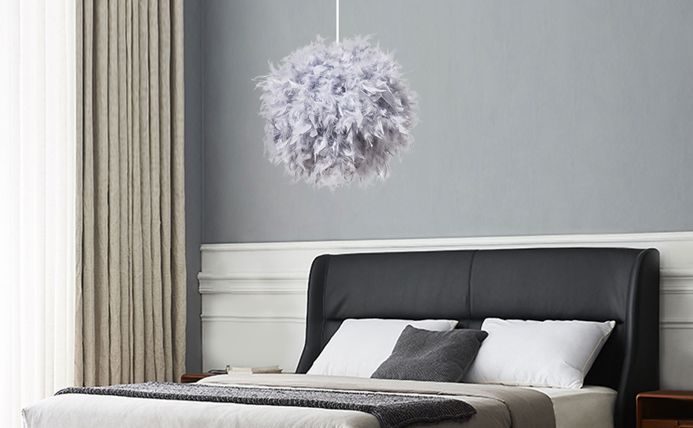 Grey feather lamp