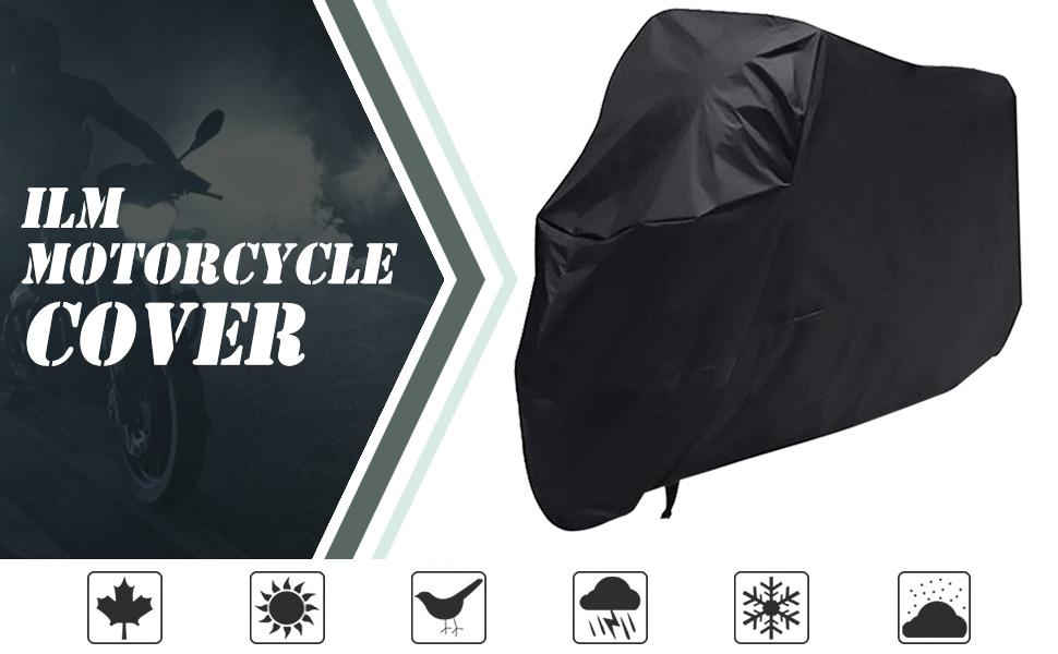 """ILM Motorcycle Cover Waterproof Sunblock Dustproof Outdoor Garage Motor Cover 3 Buckles XXXL 108"""""""