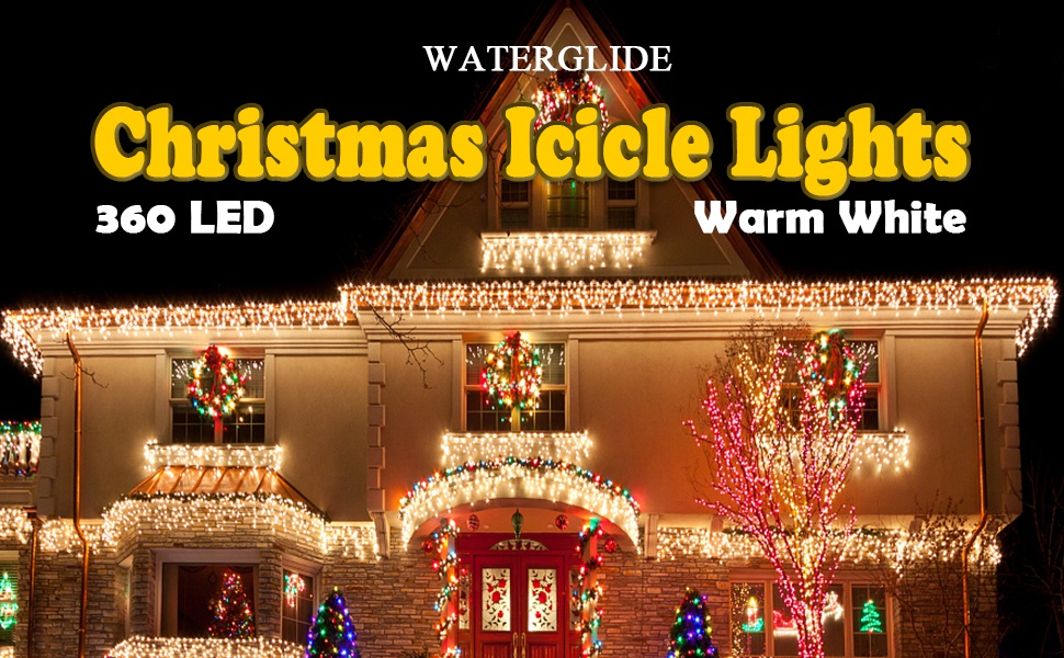 WATERGLIDE 360 LED Icicle Lights 29.5ft 8 Modes Christmas Curtain Fairy Lights with 60 Drops