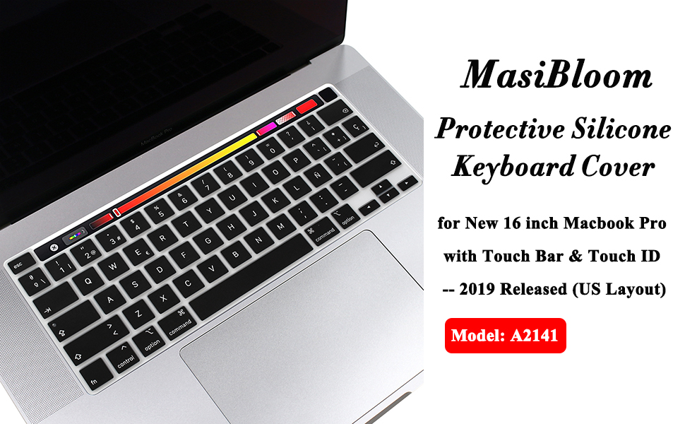 16 inch Ultra Thin Protective Skin for 16 MacBook Pro, Black Model: A2141 Masino/® Spanish Language Silicone Keyboard Cover for EU Version 16 MacBook Pro with Touch Bar /& Touch ID 2019 Released