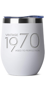 1970 50th Birthday Gifts for Women and Men White 12 oz Insulated Stainless Steel Tumbler 50 Year Old