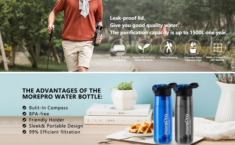 water bottle with filter staw