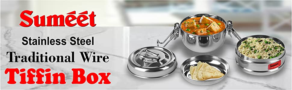 Sumeet Stainless Steel Traditional Wire Tiffin Box