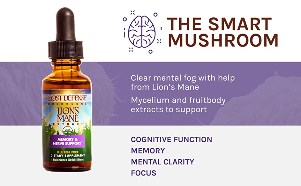 THE SMART MUSHROOM Clear mental fog with help from Lion's Mane Mycelium and fruitbody extracts
