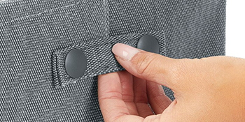 attached built-in handle button snap steel insert solid structure hand
