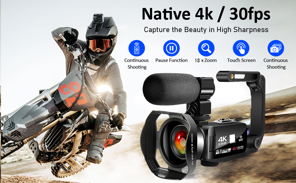 Flashandfocus.com d048c489-291d-4b43-9ad8-a6d99c06fe0b.__CR0,0,970,600_PT0_SX970_V1___ 4K Video Camera Camcorder with Microphone 30FPS 48MP Vlogging Camera with Rotatable 3.0 Touch Screen and Time-Lapse…