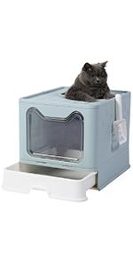 Blue cat litter box