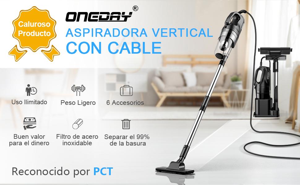 oneday Aspiradoras de Mano con Cable Aspirador Vertical con Cable ...