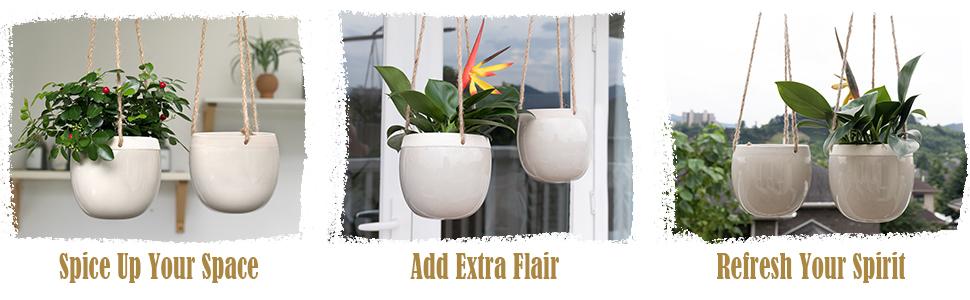 Cracked Design Ceramic Hanging Planters, light grey