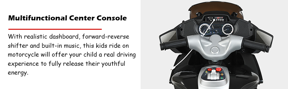 kids motorcycle with music, forward backward function, realistic dashboard