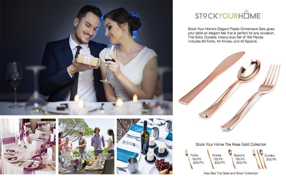 Plastic Cutlery Heavy Duty - 160 Piece Rose Gold Plastic Silverware - Rose Gold Plastic Utensils