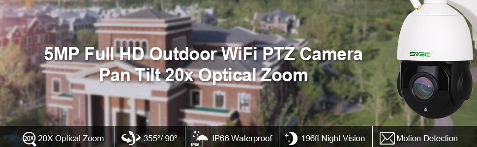 sv3c 5mp security camera ptz camera outdoor 20x optical zoom camera wifi surveillance camera ip cam