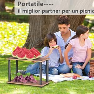Camera da Letto Soggiorno Coavas Side-Table Sofa Side-Table Scaffale espositivo Multiuso Compatto a 3 Ripiani in Legno Comodino per Piccoli spazi