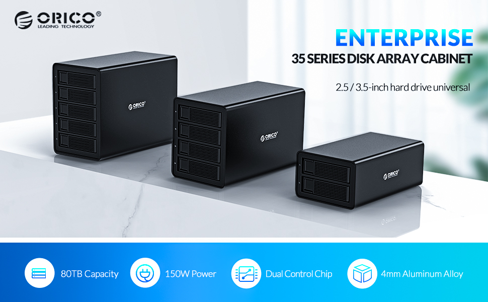 Orico disco duro de 4 bahías para disco duro SATA HDD/SSD de 2.5/3.5 pulgadas, conexión USB 3.0 (UASP) y eSATA, 4*16TB, fuente de alimentación externa de 150W, para Windows/Mac/Linux: Amazon.es: Electrónica