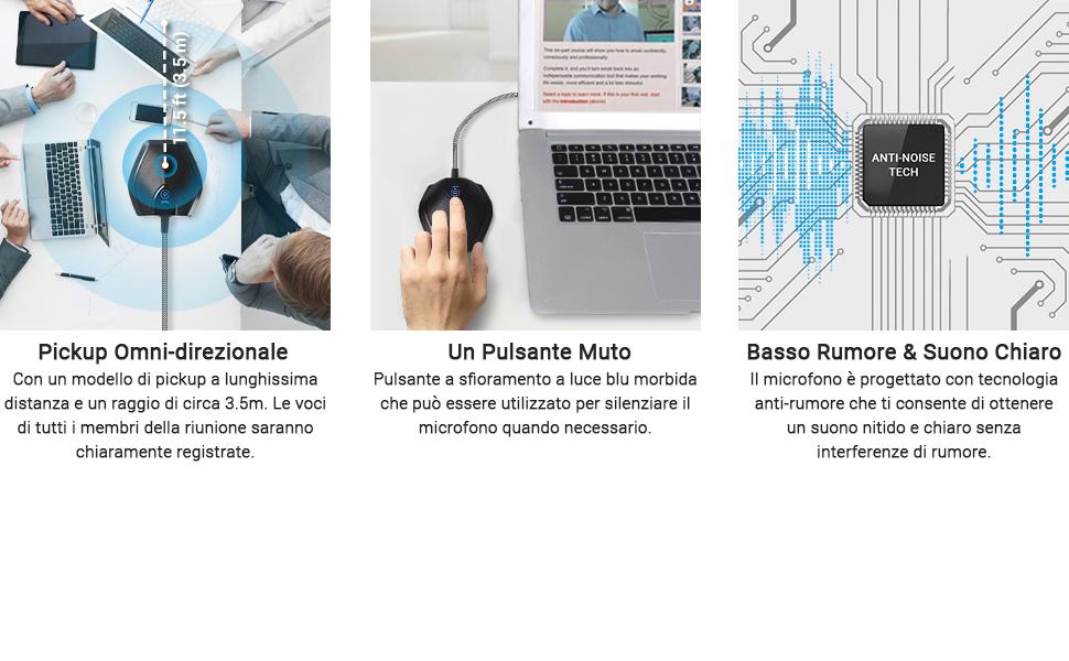 TONOR USB Microfono per Conferenze, Condensatore Multidrezionale Microfono per Riunioni ed Incontri di Lavoro
