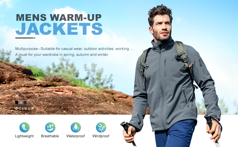 CAMEL CROWN Waterproof Mens Softshell Jacket Fleece Lining Windproof Breathable Outdoor Warm Coat Full-Zip Hooded Casual Jacket for Autumn Travelling Winter Sports Work Leisure