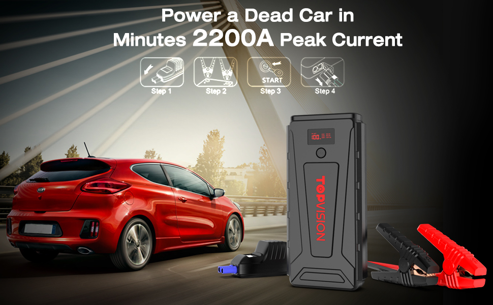 Battery Starter for Car, TOPVISION 2200A Peak 21800mAh Portable Car Power  Pack with USB Quick Charge 3 0 (Up to 7 0L Gas or 6 5L Diesel Engine), 12V