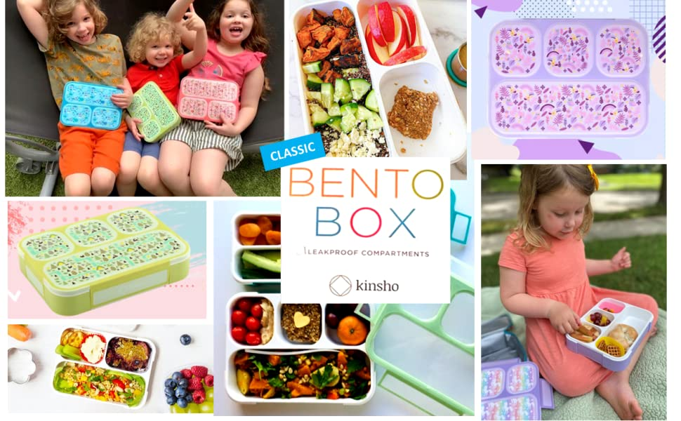 bento lunch box snack containers for kids toddlers cute flower pink blue purple green lunches box