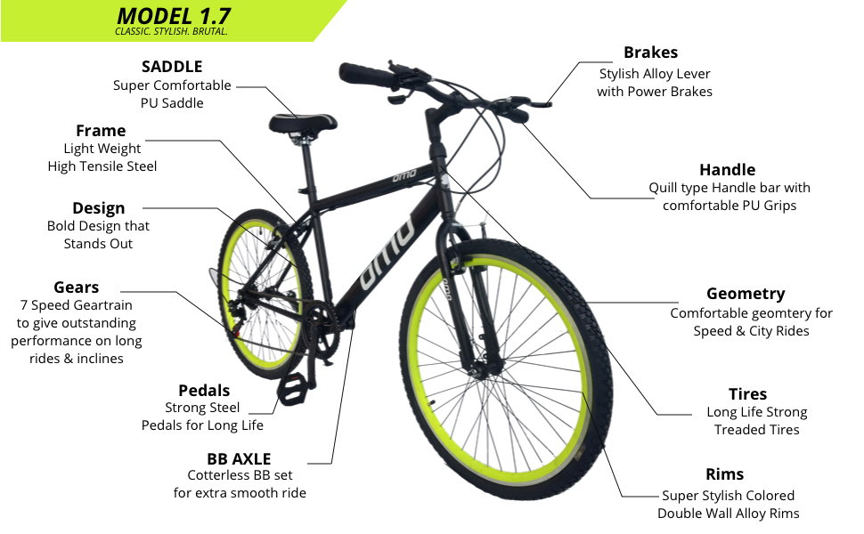OMO bikes feature , specification, seat, handle bar, tyre size, design, frame size , pedals
