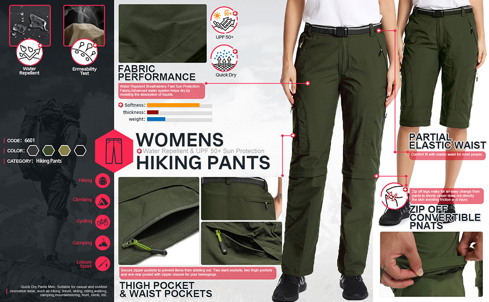 Lightweight Hiking Pants for Women Camo Cargo Water Resistant Pants with Zipper Pockets UPF 50