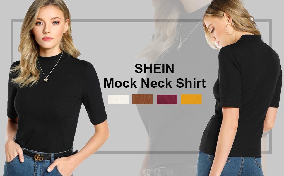 women mock neck solid tee shirt