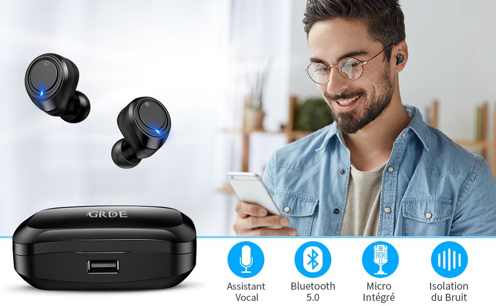 ecouteur bluetooth  ecouteurs sans fil  oreillette Bluetooth  ecouteurs bluetooth  écouteur sans fil