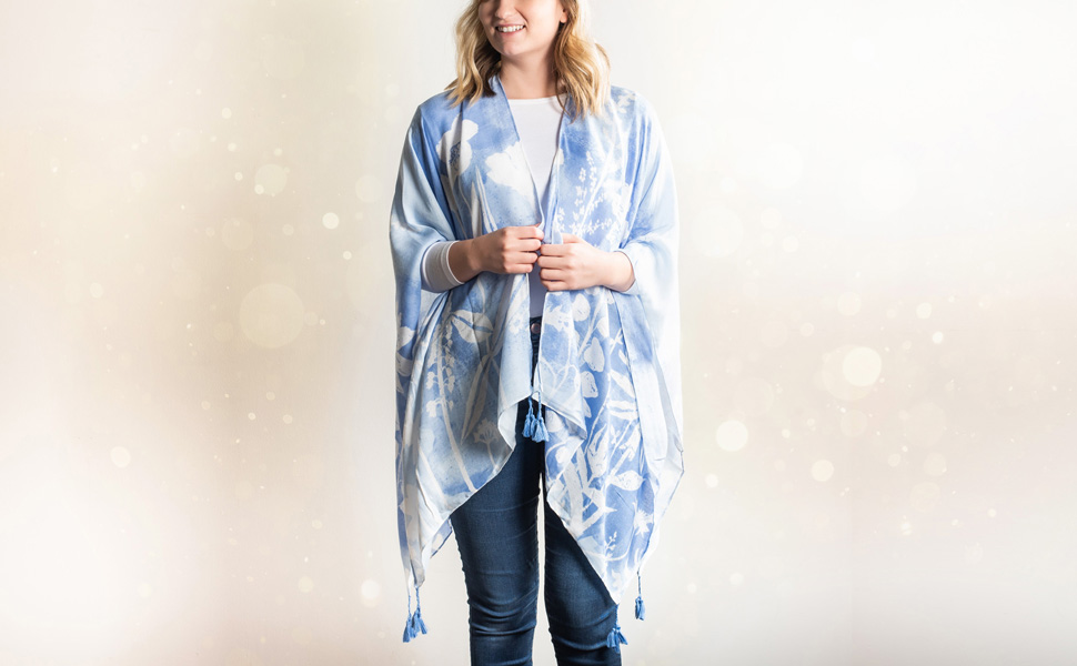DEMDACO Sketches of Nature Soft Blue Polyester Fabric Kimono on model