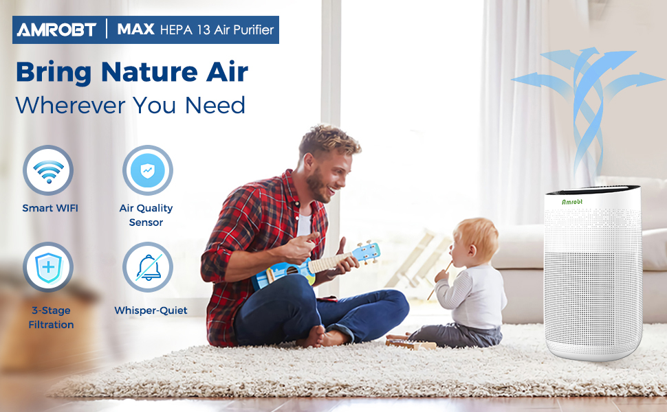 Max  Amrobt Smart Wi-Fi Air Purifier for Home Large Room with True HEPA Filter.4-layer Filtration, Odor Eliminator for Allergies and Pets, Ionic & Sterilizer, Air Cleaner for Office & Home, Rid of Mold, Smoke, Odor. Works with Alexa d08350db b0d1 40ee aec2 2244590592f6