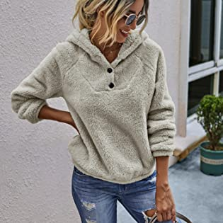 Winter Women's Fleece Hoodies Sweatshirts Long Sleeves Shaggy Pullovers with Pockets Short Tops