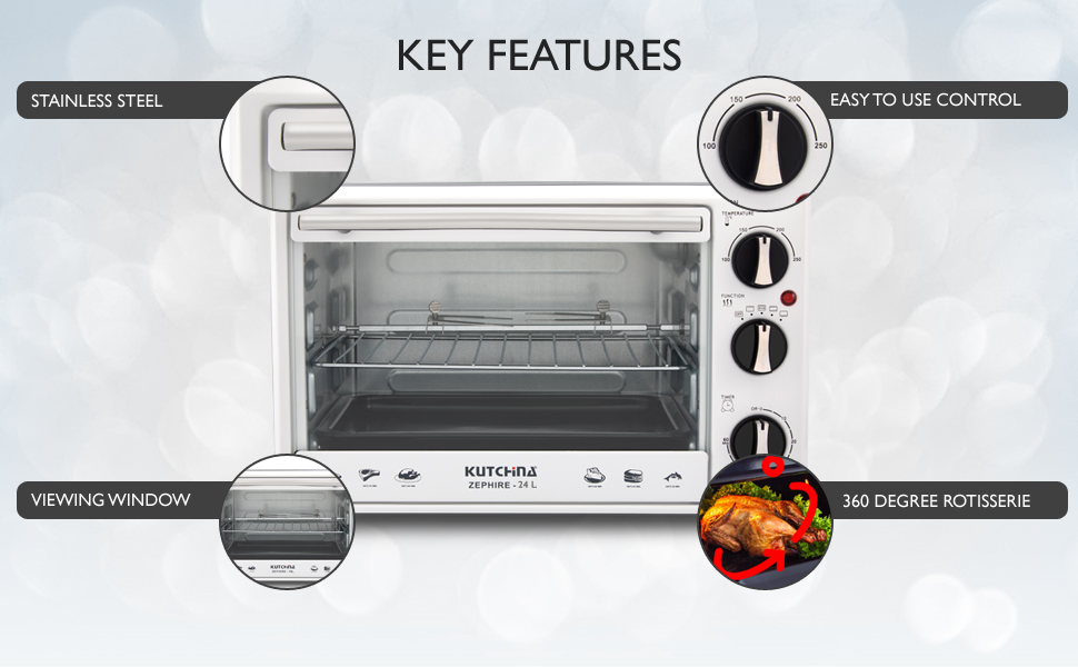 Key features stainless steel 360 rotisserie easy to use functions