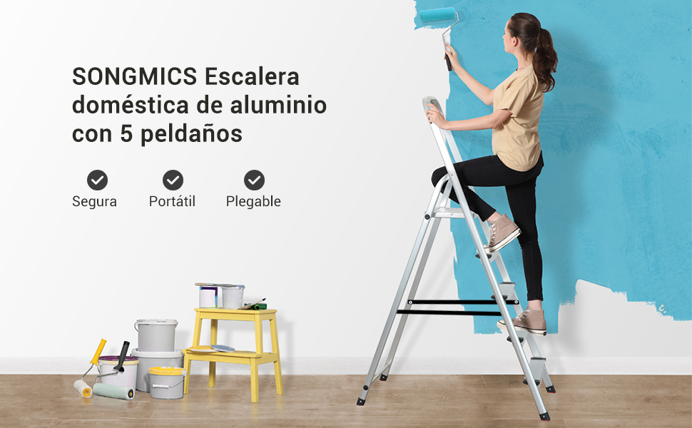 SONGMICS Escalera Plegable de Aluminio, con 5 Peldaños, Carga Máxima de 150 kg GLT159: Amazon.es: Bricolaje y herramientas