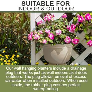 indoor outdoor half round resin plastic water plug inside outside hangable planter pots flower pots