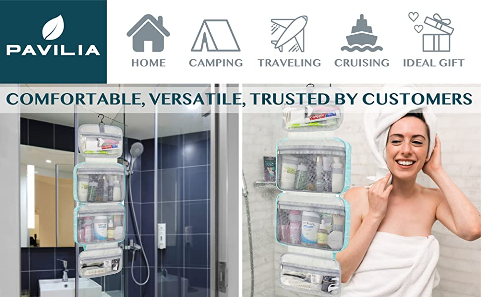 PORTABLE AND CONVENIENT - Top sturdy hook displays the kit from a shower or towel rack