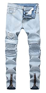 LONGBIDA biker jeans for men