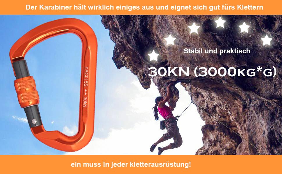 Mosquetón de escalada con tornillo de 30 KN, mosquetón fuerte de escalada atornillable, mosquetón de escalada con cierre de rosca, tamaño grande, de ...