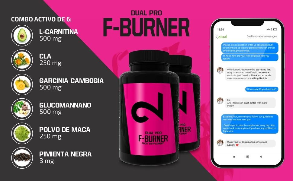 Dual Pro F-burner   Funciona Sin Deporte   Para Mujeres Y Hombres   100 Cápsulas Veganas   Sin Aditivos & Estimulantes   Suplemento Alimenticio 100% ...
