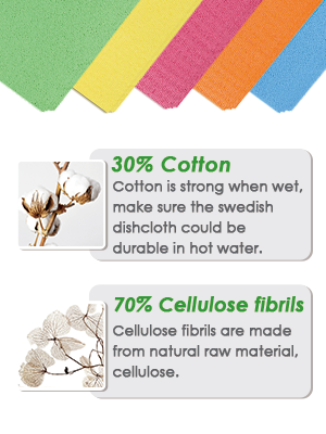 JOYXEON Swedish Dishcloth is made of natural material, 30% cotton and 70% Cellulose.