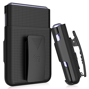 SM-F700 Black Nakedcellphone Galaxy Z Flip Case with Clip Snap-On Cover with Belt Hip Holster Holder Combo for Samsung Galaxy Z Flip Phone Rotating//Ratchet