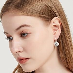 dainty silver diamond stud for women fine jewelry
