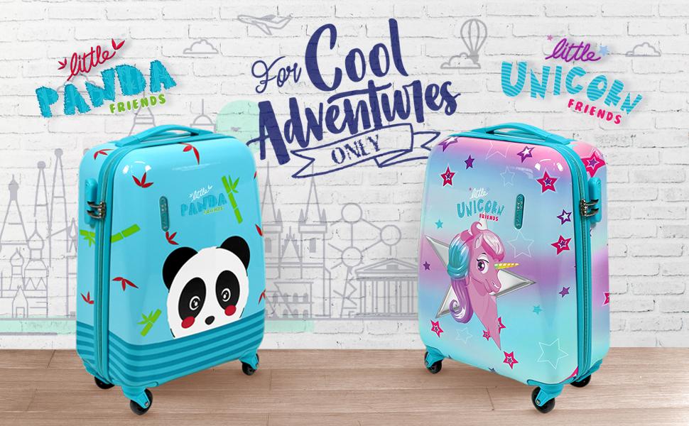 Maleta con panda o unicornio de la colección Perletti Cool Kids para niños y niñas.
