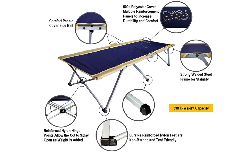 easy cot byer of maine aluminum polyester fabric full size long camping sleeping guest bed