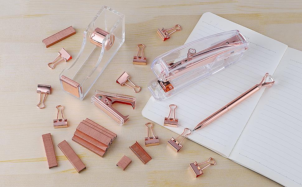 1  KIDMEN Rosegold Desk Accessory Kit,Set of Stapler, Staple Remover,1000pcs Staples,Tape Dispenser,Big Diamond Ballpoint Pen and 10pcs Binder Clips d0bf174b 54f8 4d7f a364 765275ead3dc